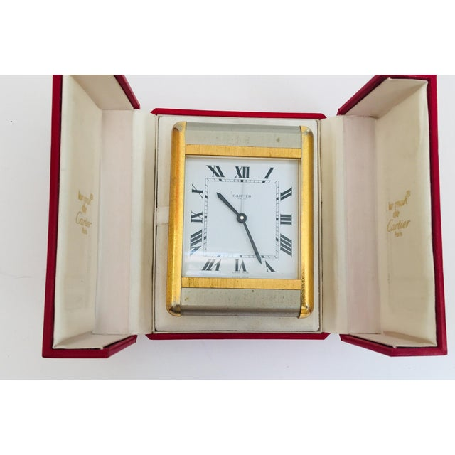 Cartier Tank Desk Clock Two-Tone Gold and Steel For Sale - Image 11 of 13