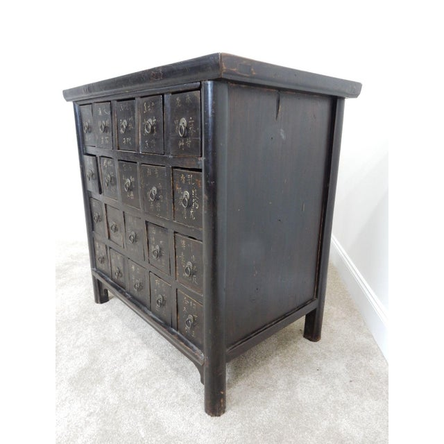 Black Antique Chinese Elmwood Apothecary Cabinet For Sale - Image 8 of 11