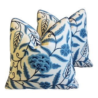 "Designer Blue & Cream Lee Jofa Crewel Feather/Down Pillows 20"" Square - Pair For Sale"