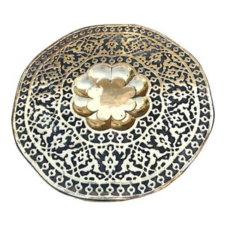 1960s Moroccan Round Brass Tray For Sale