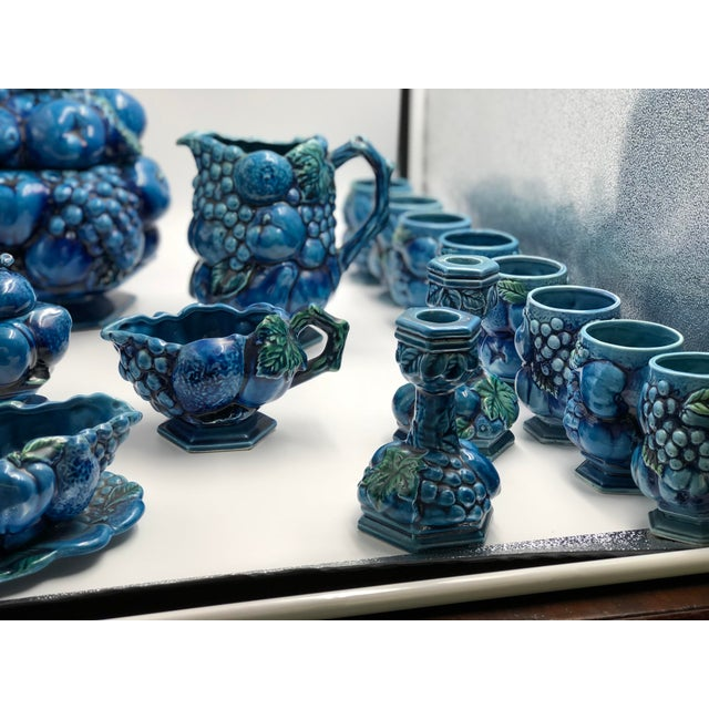 1950s Vintage Ceramic Fruit Topiary Serving Set, Mood Indigo by Inacaro For Sale - Image 5 of 12