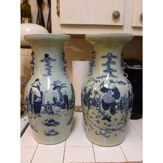 19th Century Qing Chinese Blue & White on Celadon Ground Vases - a Pair For Sale - Image 13 of 13