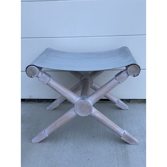Mid-Century Modern Cerused Finish X-Bench - a Pair For Sale - Image 9 of 13