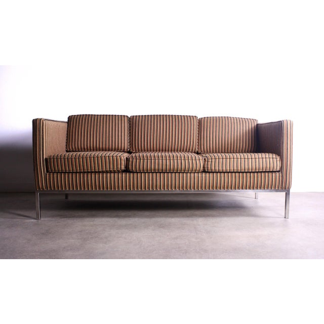 Edward Axel Roffman Rare Axel Roffman Original Upholstery With a Chrome Base Sofa For Sale - Image 4 of 4