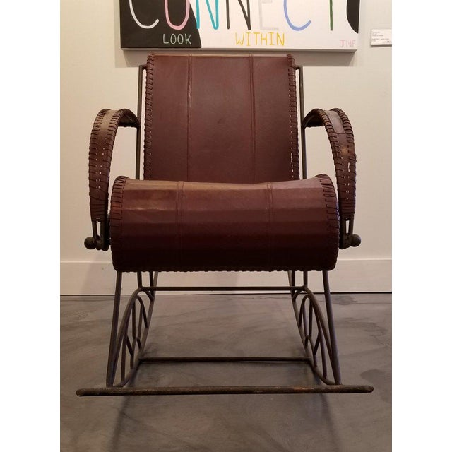 Industrial Iron and Leather Rocker For Sale - Image 4 of 13