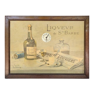 Liqueur de Couvent de Ste Barbe, Paste Board with German Porcelain Clock For Sale