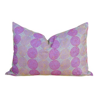 Amethyst Chakra Kantha Silk Pillow For Sale