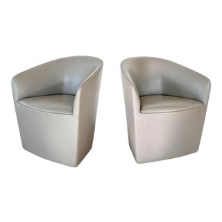 Pair of Modern Barrel Back Leather Swivel Club Chairs For Sale