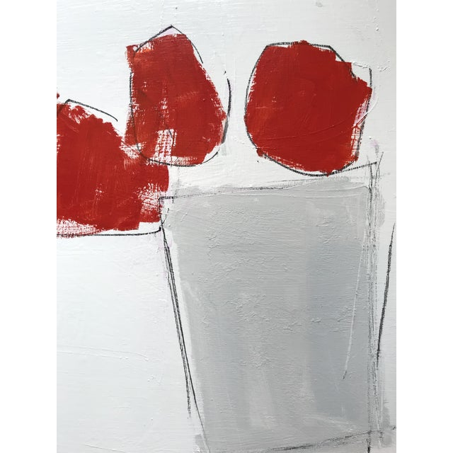 2010s Blooms in Red Contemporary Painting For Sale - Image 5 of 5