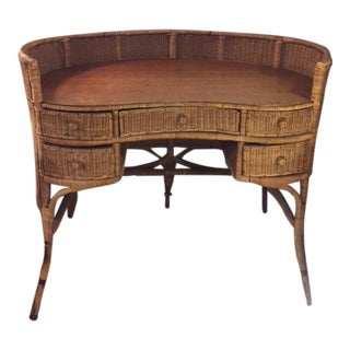 Wicker Wood & Rattan Kidney Writing Desk