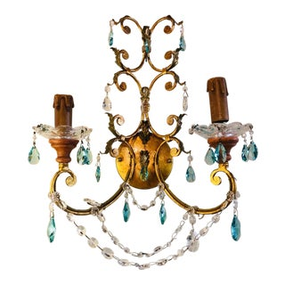 Pair of Neoclassical Handcrafted Italian Gilt Metal and Crystal Sconces For Sale