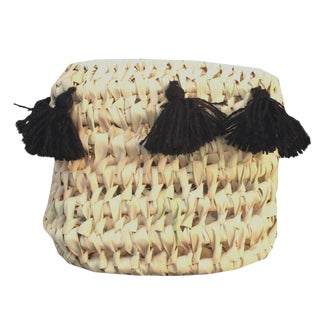 Moroccan Black Tassel Basket For Sale