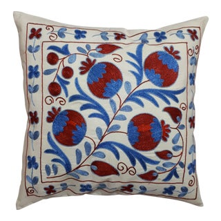 Blue Red Pomegranate Design Crochet Pillow Cover For Sale