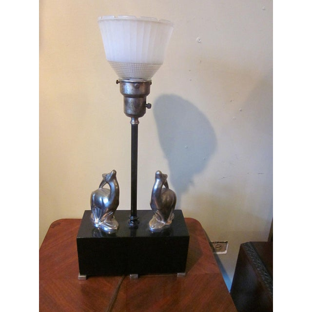 Art Deco 1920s Vintage 1920s Art Deco Black and Chrome Figural Table Lamp Gazelles Antelope Chrome Animal Figures With Geometric Black Base and Shade For Sale - Image 3 of 9