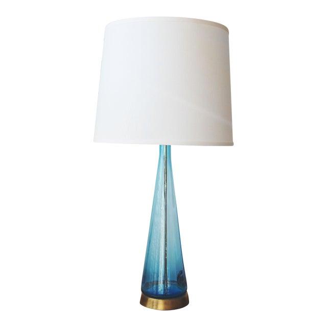 Mid century modern aqua blue blown glass table lamp chairish mid century modern aqua blue blown glass table lamp mozeypictures Gallery