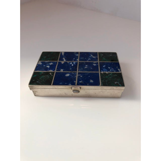 Contemporary 1960s Vintage Lapis Lazuli and Malachite Silver Box For Sale - Image 3 of 6