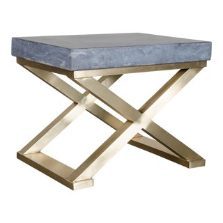 Brass Cross-Leg Table with Stone Top For Sale