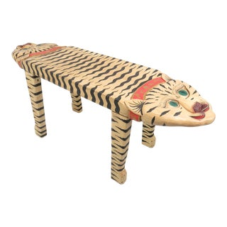 Vintage Hand Carved and Painted Wooden Double Headed Tiger Bench For Sale