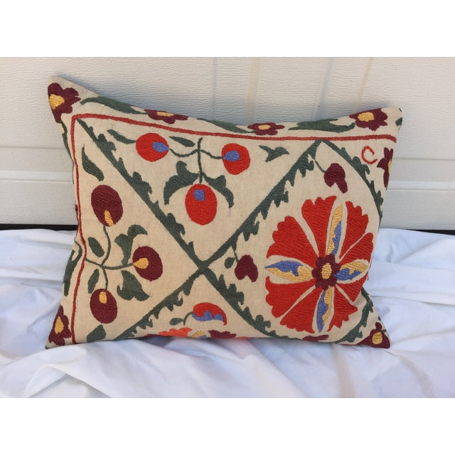 Antique Embroidered Turkish Suzani Pillow - Image 2 of 7