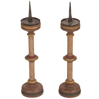 Late 19th Century Painted Belgium Candlesticks - a Pair For Sale