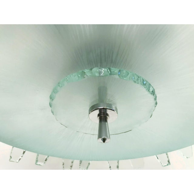Aqua Etched Glass Chandelier by Fontana Arte For Sale - Image 8 of 12