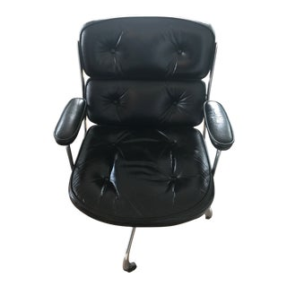 1970s Charles Eames for Herman Miller Early Time Life Black Leather Executive Chair