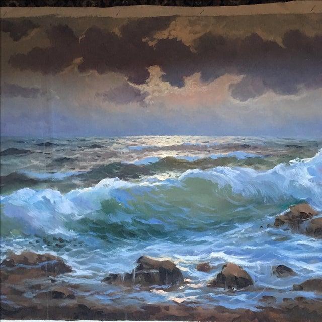 Vintage Large Signed Seascape - Image 3 of 11