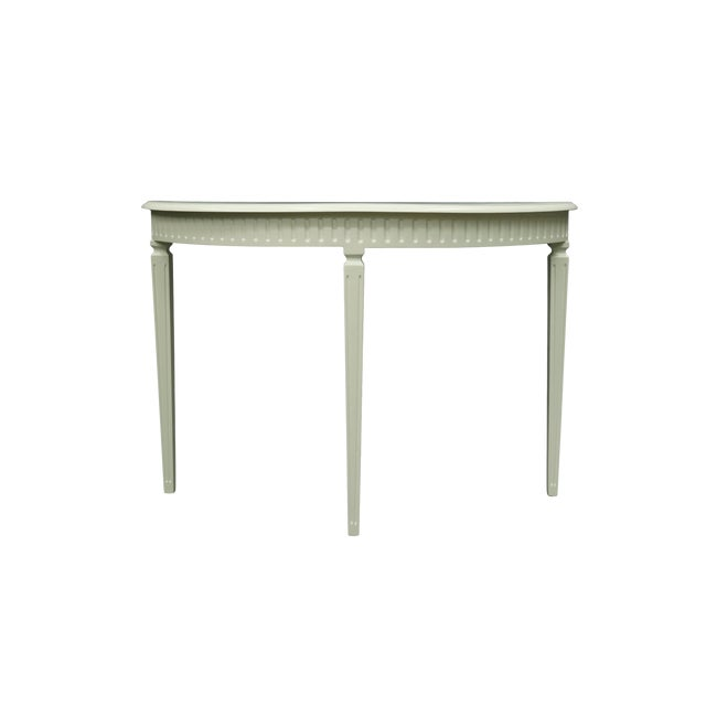 Matte White Finish3 Legged Semi-Circle Console Table With Tapered Legs For Sale