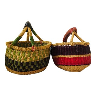 African Woven Baskets - A Pair For Sale