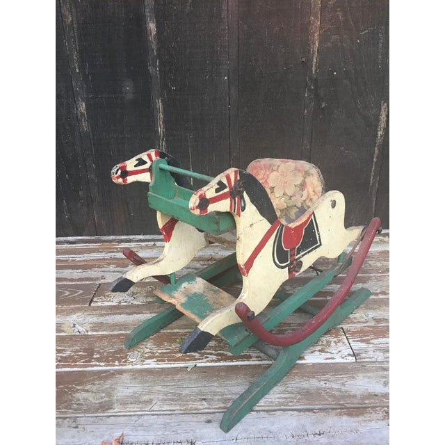 Boho Chic Late 1800s Victorian Double Rocking Horse For Sale - Image 3 of 11