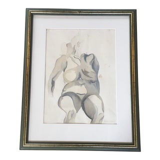 1963 Female Nude Study Watercolor Drawing by London Artist Peter Green, Framed For Sale