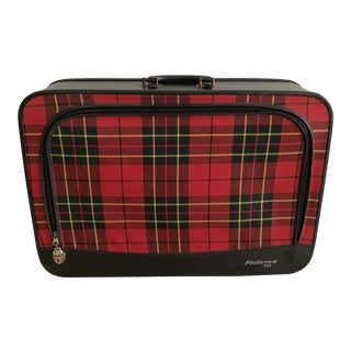 1950s Tartan Checked Canvas Zip-Lidded Suitcase For Sale