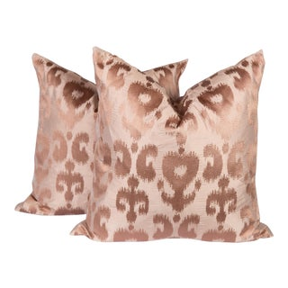 Blush Silk Ikat Pillows - A Pair