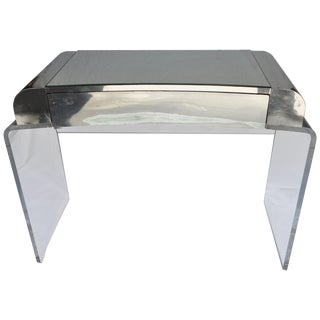 Hollywood Regency Waterfall Lucite Mirrored Vanity For Sale