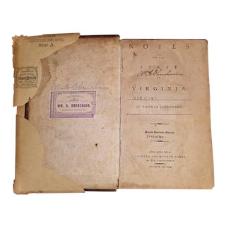 Jeffersons Notes on the State of Virginia 2nd Edition - Important Book For Sale