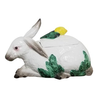 Oversized Italian Majolica Rabbit Tureen For Sale