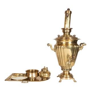 Imperial Russian Brass Samovar Set by Alenchikov & Zimin - Set of 5 For Sale