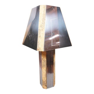 Chrome Table Lamp with Cork Accents, c. 1970 For Sale