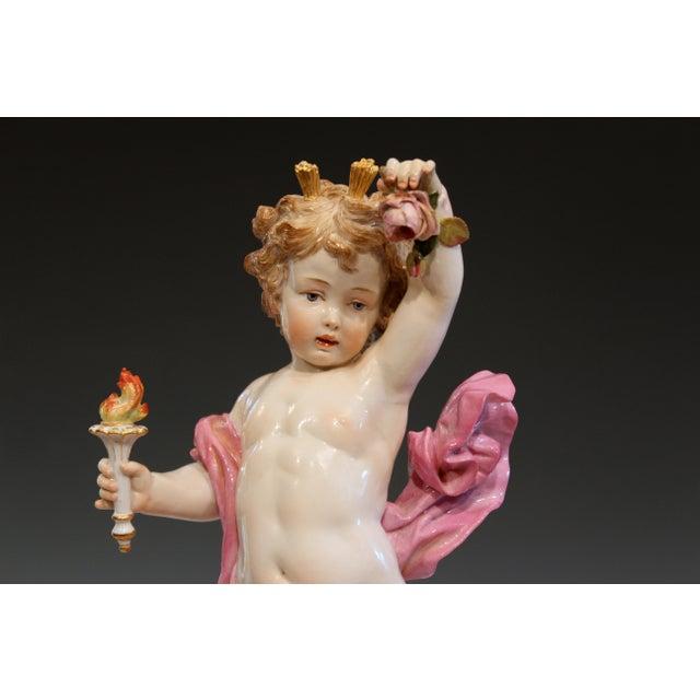"""Meissen Porcelain Antique Meissen Allegorical Day Figure Porcelain German Signed 14"""" For Sale - Image 4 of 13"""