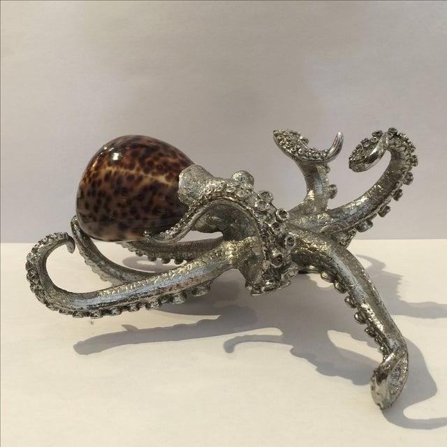 Vintage Metal & Shell Octopus Sculpture For Sale - Image 4 of 10