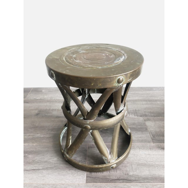 Boho Chic 1960s Boho Chic Brass Drum Table For Sale - Image 3 of 7