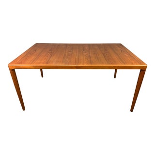 Vintage Danish Mid Century Modern Teak Dining Table With Leaves Attributed to hw. Klein for Bramin For Sale