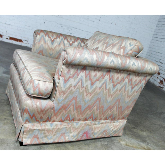 Traditional Tuxedo Style Skirted Lounge Chair with Rolled Arms and Flame Stitch Upholstery For Sale - Image 3 of 11