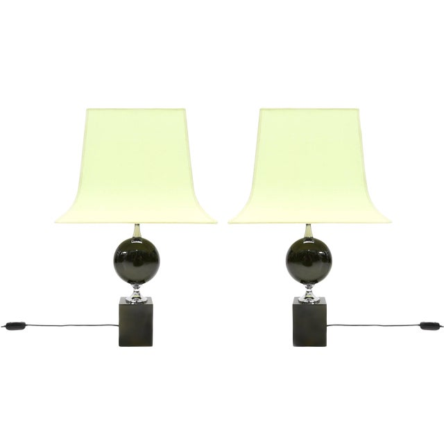 Pair of Philippe Barbier Green Table Lamps For Sale