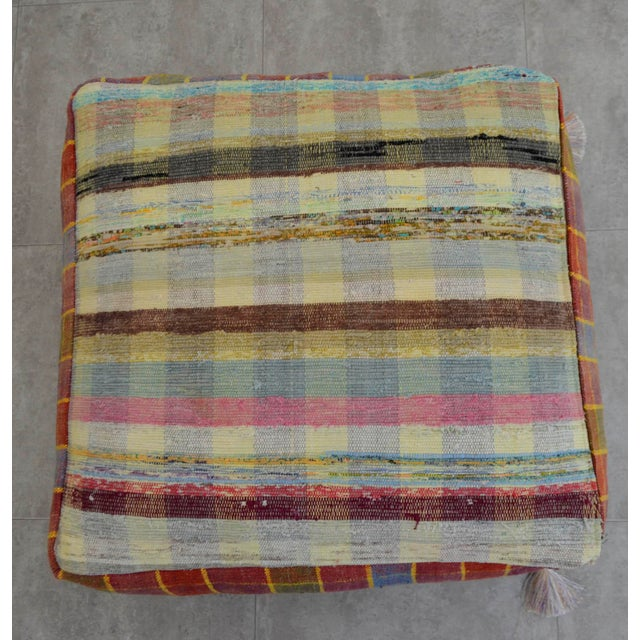 Turkish Hand Woven Kilim Floor Pillow - Image 5 of 9