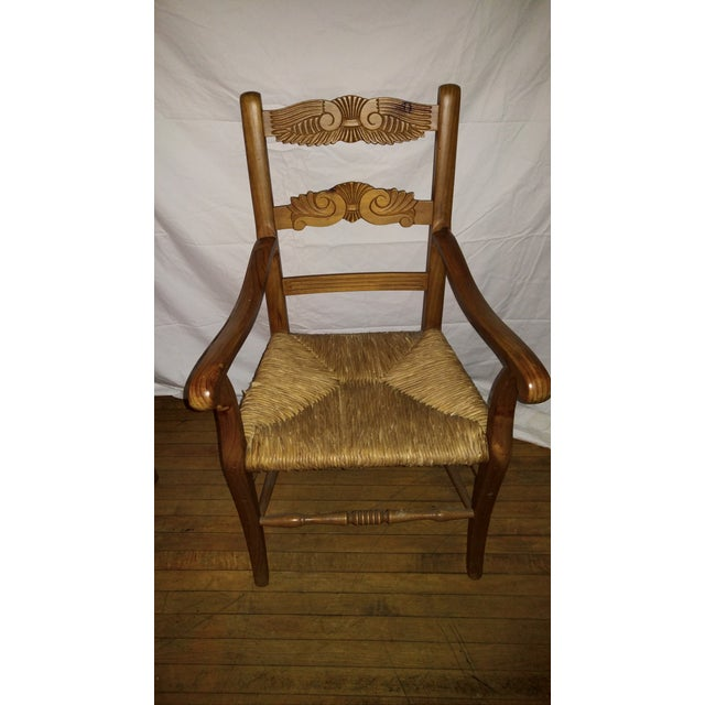 1970s 1970s French Country Hand Carved Rush Seat Chairs - Set of 4 For Sale - Image 5 of 13