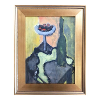 Vintage Mid Century Abstract Still Life Oil Painting W/ Berries & Wine C.1950 For Sale