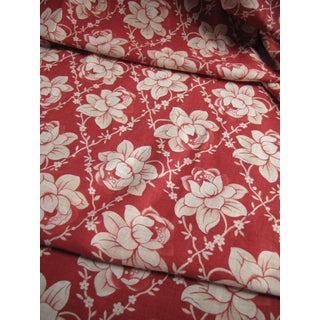 Antique 1910s French Red Floral Printed Christmas Fabric For Sale