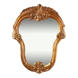 Antique French Fleur-de-Lis Shield Form Giltwood Wall Mirror, circa 1860 For Sale