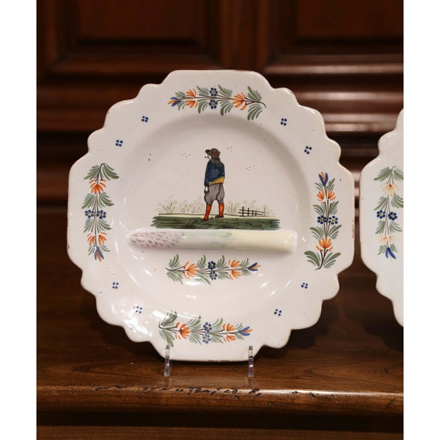 Empire Late 19th Century French Hand-Painted Faience Decorative Dishes Signed Hb For Sale - Image 3 of 7